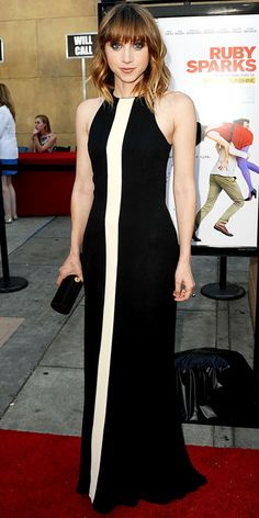 Zoe Kazan in black-and-white dress and Amanda Pearl clutch