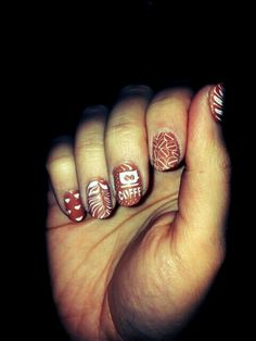 Coffee stamping nail art