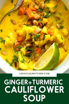 Made with ginger, turmeric and coconut milk, this Vegan Cauliflower Soup is both healthy and downright delicious. It's also a cinch to put together, taking less than 25 minutes from start to finish.
