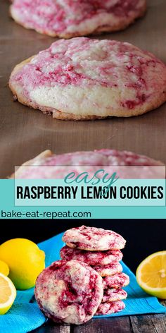 These raspberry lemon cookies are ultra soft and chewy – quick and easy to make and so tasty everyone loves them. One of the best cookies I've made! Chocolate Cookie Recipes, Easy Cookie Recipes, Baking Recipes, Baking Chocolate, Quick Cookies, Yummy Cookies, Lemon Cookies Easy, Köstliche Desserts, Dessert Recipes