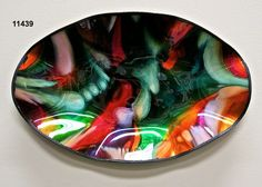 Tejas Art Deco Plate/Oval/Pigskin Glass PlateCanvas Backing-Screen Mesh/Water-base paint with foils/Recycled Window Glass  Handmade in the US  Artists: Manuel Silva and Robert Ornelas $175