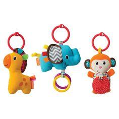 Infantino 3-pk. Tag Along Plush Travel Pals, Multicolor