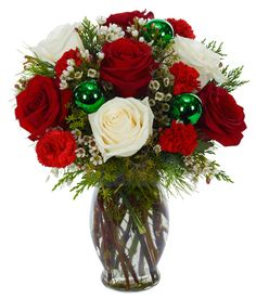 Christmas Flower Arrangements | Christmas floral arrangement with red and white flowers
