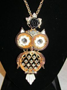 "Owl Statement Necklace in Clear Stone with Black Rose hangs 18.5"" from neck $17.99/ea"