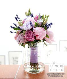 Rustic chic bouquet of pink peonies, roses and lavender #wedding #matrimonio #fotografo matrimonio