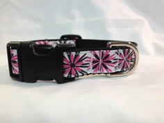 Pink Flower Burst   Adjustable Dog Collar 3/4 by TheEmPURRium, $10.50