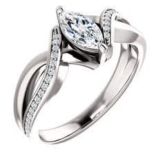 0.50 Ct Marquise #Diamond #Engagement #Ring 14k White Gold – Goldia.com