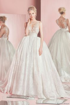 zuhair murad spring summer 2016 bridal bateau sheer neckline lace embroidery wedding ball gown overskirt dress paola