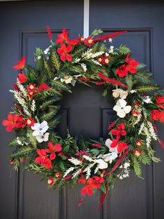Spring Door Wreath Red White Spring Wreaths Door Decor New Home Gift Housewarming Mothers Day Spring Gift Ideas Red White Wreaths Fern Spring Door Wreaths, Christmas Wreaths, White Wreath, Floral Wreath, White Springs, New Home Gifts, Fern, Grapevine Wreath, House Warming