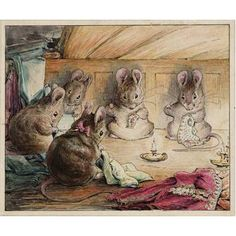 mice sewing mayors coat from the tailor of gloucester by beatrix potter - always nice to stitch with friends :)