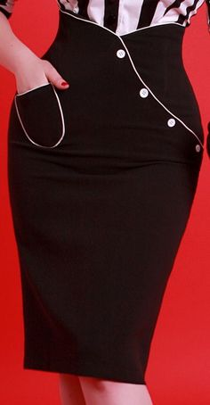 Retro Bettie Page Clothing WIGGLE PENCIL SKIRT