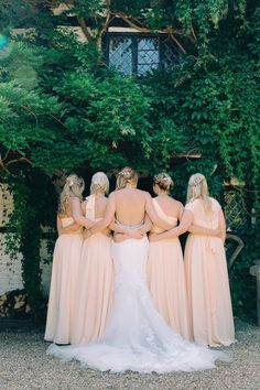 Huge Sale on mismatched peach floor length peach bridesmaid dresses from For Her and for Him.