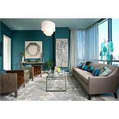 Brown And Teal Living Room Walls With Furniture Turquoise