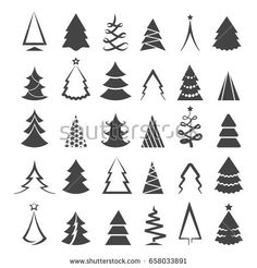 Thin Line Pine Tree Icon Set Stock-Vektorgrafik (Lizenzfrei) 332137799 Minimalist Christmas Tree, Simple Christmas, White Christmas, Christmas Ad, Natural Christmas, Christmas Tree Drawing, Christmas Tattoo, Icon Set, Silhouettes