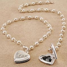 Cathy's Concepts B9156SW Personalized Pearl Bracelet with Locket  #heart  #Valentine