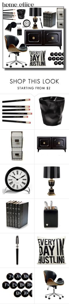 """""""#homeoffice"""" by hellodollface ❤ liked on Polyvore featuring interior, interiors, interior design, home, home decor, interior decorating, Rosendahl, Robert Abbey, Decorative Leather Books and Aspinal of London"""