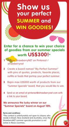 Show us your perfect SUMMER and WIN US$300 worth of summer goodies!