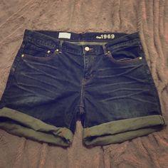 Dark blue Jean shorts Gorgeous shorts, darker blue color. Never been worn.  Sexy boyfriend shorts from gap GAP Shorts