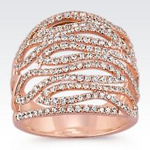 Swirl Round Diamond Ring in 14k Rose Gold Image