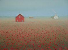 Red Barn PRINT  Farmhouse Poppy Farm Landscape  Art. $24.00, via Etsy.