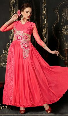 Add some glow to your look wearing this scarlet red embroidered net Anarkali dress. The ethnic patch and resham work on dress adds a sign of magnificence statement with your look. #LatestAnarkaliCasualSuit