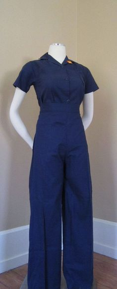 1940s Rosie the Riveter Defense Work-Wear Uniform, via Etsy.