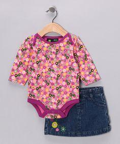 Medium Pink Floral Bodysuit & Skirt - Infant