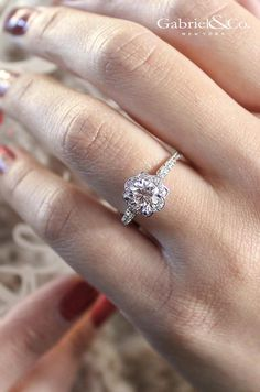 Let the one you love know that they hold your heart by presenting them with this gorgeous engagement ring. Discover more of this White Gold Diamond Halo Engagement Ring and locate your local Gabriel retailer on our website. Cushion Cut Engagement Ring, Halo Engagement, Beautiful Engagement Rings, Anniversary Rings, Here Comes The Bride, Jewelry Branding, White Gold Diamonds, Fine Jewelry, Jewellery