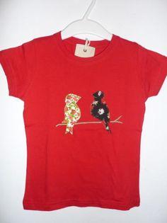 camiseta roja pajaritos  camiseta de algodón,tela de algodón estampada,hilos de bordar aplique cosido a mano,patchwork