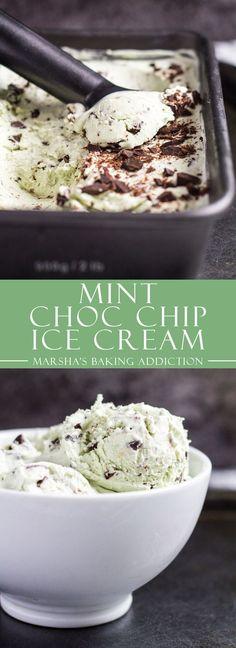 No-Churn Mint Chocolate Chip Ice Cream | http://marshasbakingaddiction.com /marshasbakeblog/