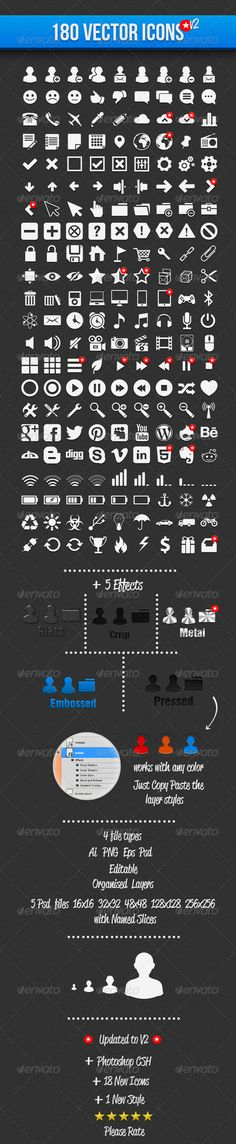 180 Vector Icons  #GraphicRiver         180 Vector Web Icons – and Symbols -Easy to edit -Ai. -Eps -And 16×16,32×32,48×48,128×128 and 256×256 Psd files with named layers and slices -4 Photoshop Effects included -Perfect for UI designs     Created: 14September12 GraphicsFilesIncluded: PhotoshopPSD #TransparentPNG #VectorEPS #AIIllustrator HighResolution: No Layered: Yes MinimumAdobeCSVersion: CS5 Tags: PSDIcon #fullyeditable #iconset #illustrator #layeredicons #photoshop #pngicon #silhouttes…