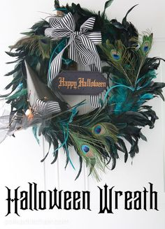 A halloween Wreath tutorial on the polka dot chair craft blog, make a cute wreath for Halloween with a paper mache witches hat