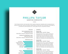 Professional Resume Template With Photo  Page Resume Plus Cover