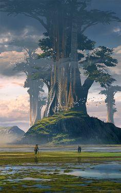 Tree Worlds, Raphael Lacoste on ArtStation at https://www.artstation.com/artwork/Kb1bB