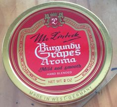 VINTAGE 1970-80s MC LINTOCK BURGUNDY GRAPES AROMA   COLLECTIBLE TOBACCO TIN