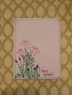 Flower Birthday card drawn with Sharpies.
