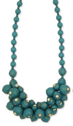 $14 other colours 16 Facet & Smooth Resin Dark Teal Bead Cluster Necklace - Unique Vintage - Cocktail, Pinup, Holiday & Prom Dresses.