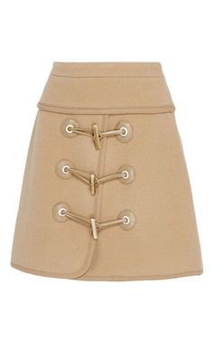 This mini **Carven** skirt features a wool blend construction with an a-line shape and toggle detailing along the front.