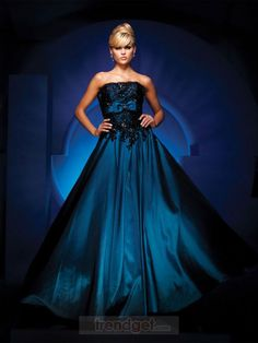 Modest A-line Strapless Floor-length Taffeta Blue Prom Dresses - $153.99 - Trendget.com