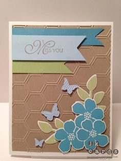 Stampin' Up! Secret Garden with Big Shot Honeycomb embossing folder.