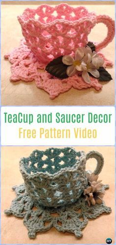 Crochet Decorative TeaCup and Saucer Free Pattern Video - Crochet Teacup Patterns