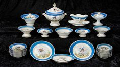 """""""Interlude"""" - Marquis Catalogued Auction - March 11, 2017: 263 French Porcelain-de-Paris Doll-Size Dinner Service with """"Birds and Flowers"""" Pattern"""