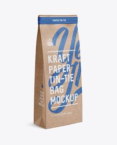 Kraft Paper Bag w/ a Paper Tin-Tie Mockup - Halfside View (Preview)
