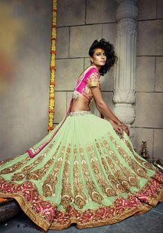 Green Georgette Bridal Lehenga Choli Online Fashion ,Veeshack.com   Fashion for the World - 2