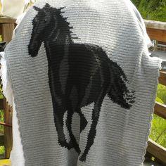 Crochet Afghan Black Horse Heather Grey by ReneeBrownsDesigns, $120.00