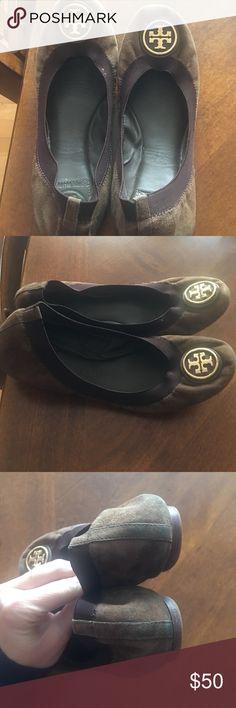 Tory Burch Ballet Flats size 7.5 Dark brown Tory burch ballet flats size 7.5 with gold Tory Burch Shoes Flats & Loafers