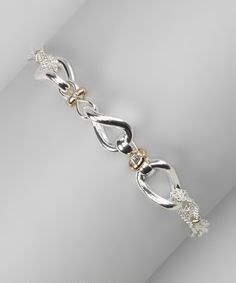 Take a look at this Silver & Gold Twist Link Bracelet by Majestic on #zulily today!