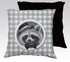 Racoon cushion cover   mr. racoon pillow animal art by MimoCadeaux