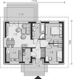 Projekt domu Oban LMB96 68,15 m2 - koszt budowy 88 tys. zł - EXTRADOM My House Plans, Cabin Plans, Small House Plans, Modern Architecture House, Architecture Plan, Two Bedroom House, Cottage Plan, Small House Design, Home Design Plans