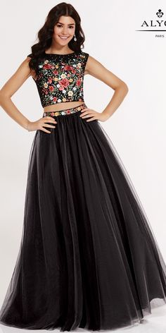 Two Piece Prom Dress with Lace Embroidered Bodice - Alyce Paris - 6801